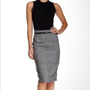 Amanda + Chelsea Belted Boucle Tweed Pencil Skirt